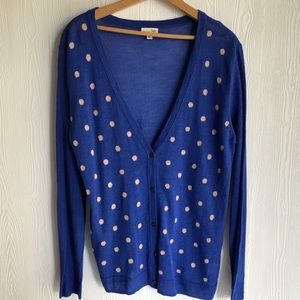 Mason Jules blue with white dots cardigan size XL